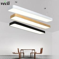 Czarny/biały nowoczesny żyrandol Led do salonu jadalnia Bar kształt prostokąta żyrandol lampy lamparas w Wiszące lampki od Lampy i oświetlenie na
