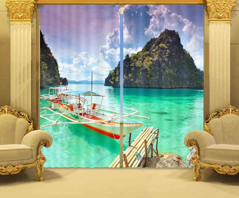 Foto Druck stereoskopische 3d Vorhänge Schöne Strand Landschaft Druck Polyester 3D Vorhang