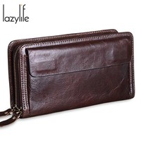 LAZYLIFE Genuine leather Wallet Male Genuine Leather Men's Wallets for Credit Card Holder Clutch Male bags Coin Purse Men