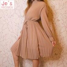 Женское платье с длинным рукавом, повседневное винтажное платье до середины икры с цветочным принтом