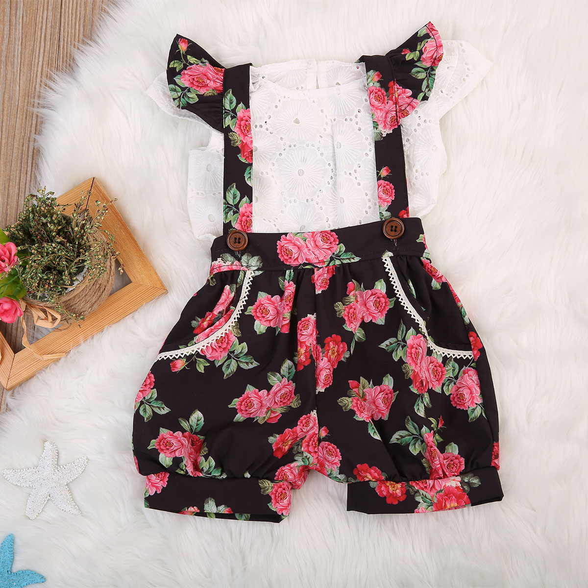 Adorable 2pcs Kids Baby Girls Floral Summer Outfits Girl T-Shirt Tops+ Floral Bib Pants Toddler Clothing Set 1-5T girls clothes outfits 2018 summer boutique kids clothing set arrow t shirt tops pants 2pcs printed toddler girl clothing sets