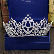 Fashion luxurious crystal big CZ zircon Princess crown wedding bride dinner banquet dressing Beauty tiaras jewelry free shipping