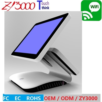 new stock I5 cpu  8 g 128 g SSD 15 inch double screen computer  windows pos With MSR card reader