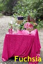 B·Y Fuchsia Sequin Tablecloth 225x330cm Glitter Rectangular Bling Table Cloths for Wedding Party Christmas Banquet Decor -63