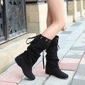 2014 moda outono e inverno das mulheres na altura do joelho-botas altas botas quentes planas sapatos botas altas das mulheres sensuais botas XY086