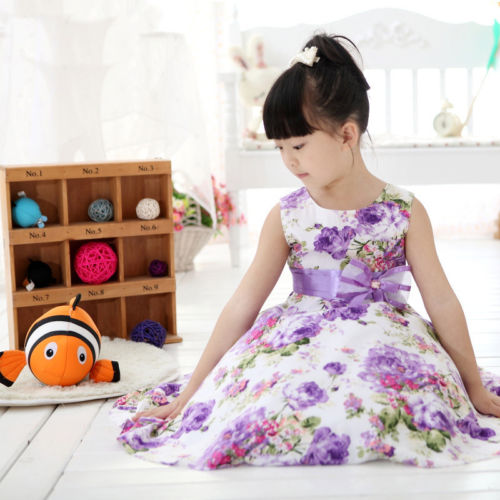 Child Baby Girls Kids Clothes Summer Sleeveless Princess Wedding Party Purple Flower Bow Gown Full Dresses 2 4 6 7 8 9 10 Years