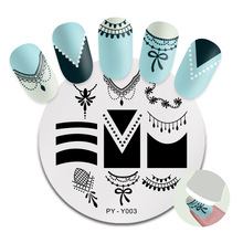 PICT YOU Round Nail Stamping Plate French Tips Patterns Stainless Steel Image Stamp Templates Art Stencil Y003