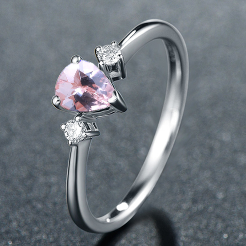 Solid 14k White Gold Pear Cut Natural Morganite Diamonds Women Engagement Wedding Ring for Women Anniversary Party Fine Jewelry solid 14k white gold rose gold natural diamonds 5x7mm pear morganite ring wedding engagement fine jewelry