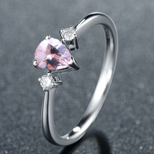 Solid 14k White Gold Pear Cut Natural Morganite Diamonds Women Engagement Wedding Ring for Women Anniversary Party Fine Jewelry