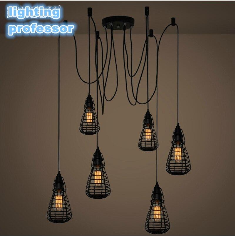 Black Spider Chandelier Lamp with Iron Cover Vintage Retro Pendant Edison Creative 1/6 Head DIY Ceiling Pendant Lamp