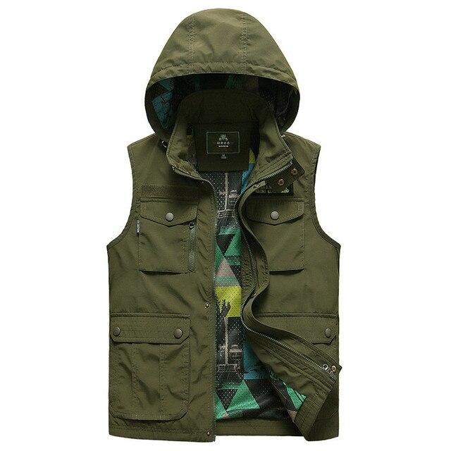 2017 Men's Fashion Vest Waterproof Casual Outerwear Plus Size M-6XL Coat Regular Three Colors Men Vest Zipper Hooded Vest Men