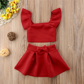 Red Crop Off Shoulder Tops Bow Skirt Children Girl Clothing Summer Clothing Outfits 2Pcs Newborn Kids Baby Girls Clothes Set 2pcs lot spring autumn baby little girls knitted ruffle skirt suits children kids girl jersey skirt sweater bow tie frillies