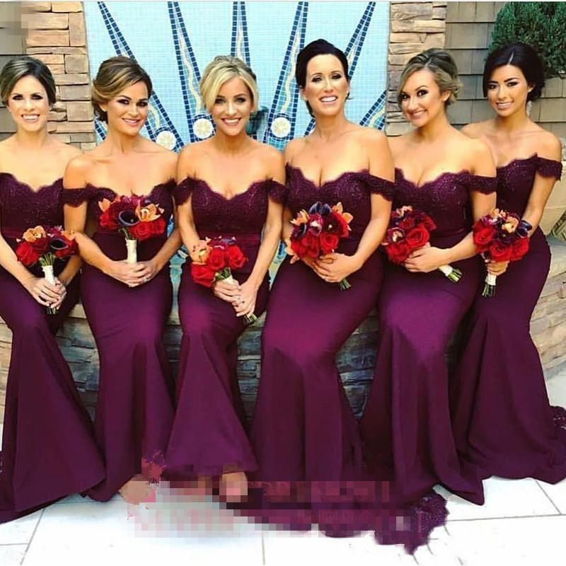Arabic Lace Long Bridesmaid Dresses   Mermaid Off-Shoulder Ruffled Vintage Garden Wedding Guest Maid Of Honor Dresses