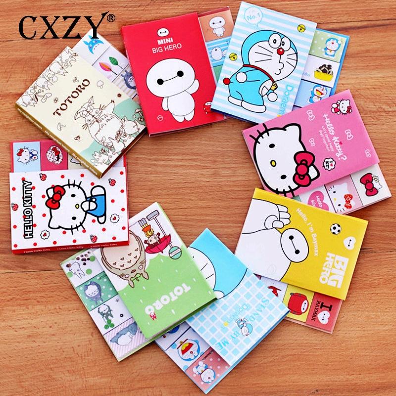 CXZY Totoro Cat Kitty Doraemon Baymax Sticky Note Book Kawaii Paper Memo Pad Planner Sticker Post List Office Stationery 3B817