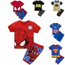 2016 short sleeved T-shirt+shorts summer children Suit spider Bat man children pajamas boy Home Furnishing suit wholesale retail