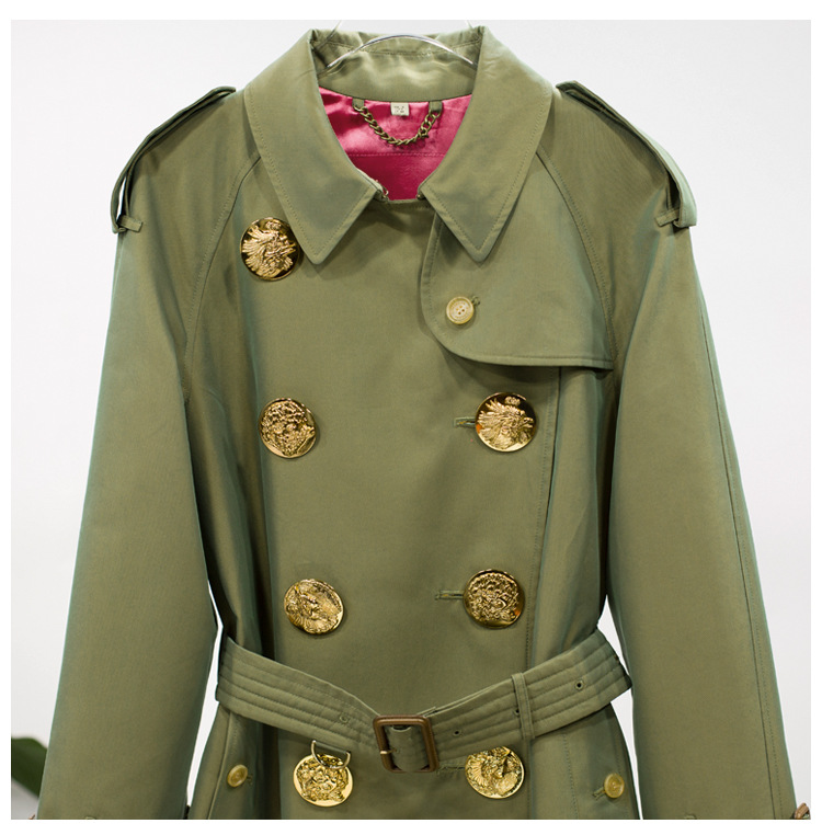 Poche Femmes Manches Mode Army Taille Haute Green Ceinture Femelle Ol Base De vent Luoanyfash Longues 2018 Double Boutonnage À Coupe Patchwork Tranchée xw8q66Xf