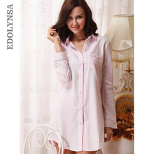 2018 Brand Striped Cotton Nightgowns Sleepwear Female Sleep Lounge Women Indoor Clothing Sexy Pink Home Dress Nightdress #P116