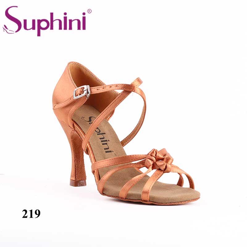 Livraison gratuite nœud bronzage profond Satin Latin Salsa chaussures de danse Suphini semelle intérieure souple en cuir semelle extérieure femme chaussures de danse latine