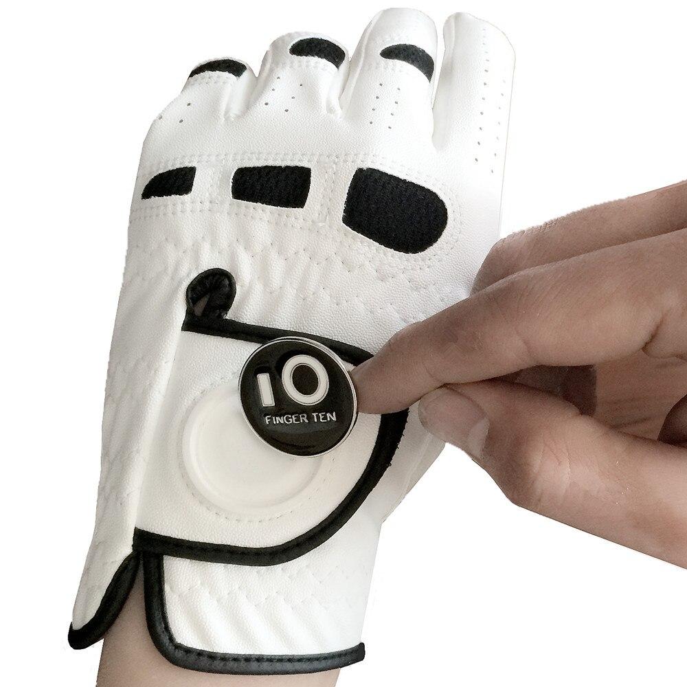 Hombres guantes de Golf con marcador de pelota mano izquierda Lh para diestros golfista todo tiempo apretón pequeño medio ML XL grande dedo diez