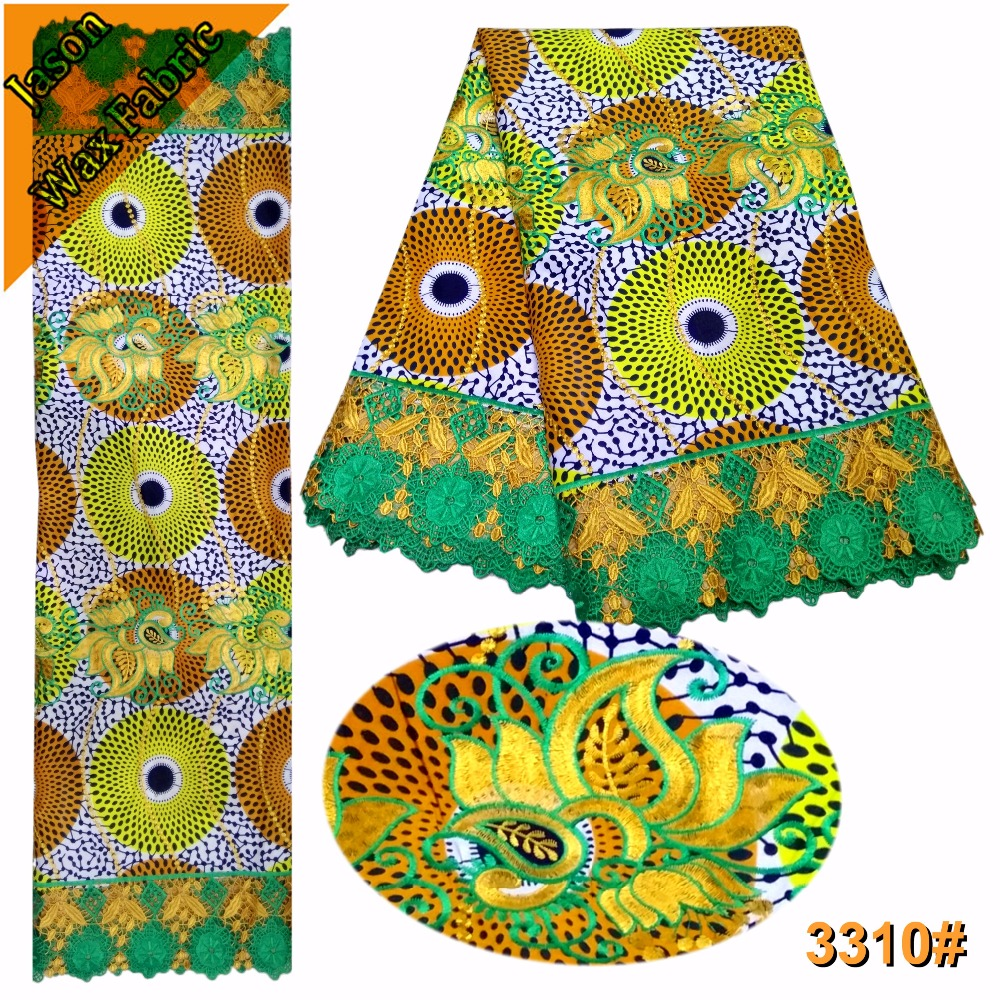 Yellow mix green color polyester Printed Lace Fabric African Wax Lace Fabric For Party Dress/ LBL