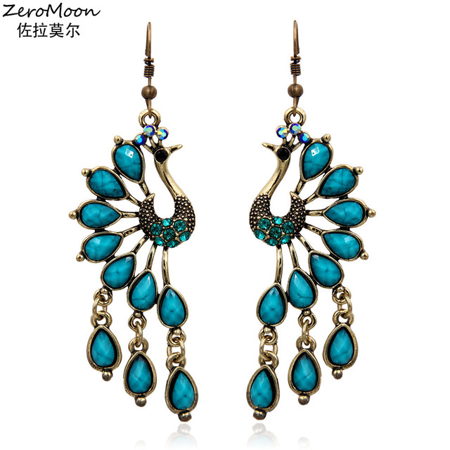 Vintage Style Acrylic Teardrop Peacock Dangle Earrings Crystal Rhinestone  Metal Tassel Animal Women Fashion Jewelry Accessory 7bc4318a1c7f