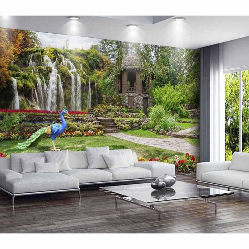 Us 17 99 28 Off Benutzerdefinierte 3d Fototapeten Fur Wohnzimmer Tv Hintergrund Schone Landschaft Wasserfall Wand Fur Wande Papiere Hauptdekorum