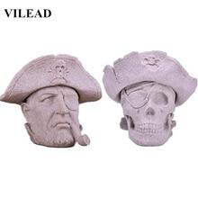 VILEAD 7 Nature Sand Stone Pirate Captain Figurines Miniatures Modern Skull Statue Vintage Home Decor Office Sculpture