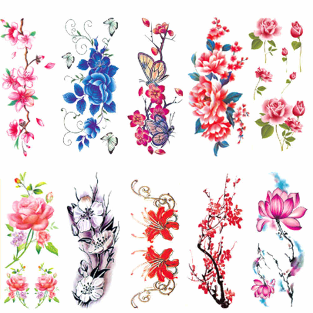 1 Sheet Sexy Women Temporary Tattoo Plum Blossom Rose Waterproof Tattoo Stickers Body Art Flower Tattoo Sticker