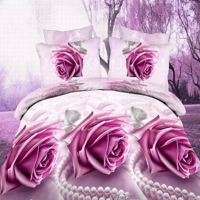 Egyptian Cotton Thread Count SaLin 3D Red Rose Bedding Linen Bed Sheets  Duvet Cover Comforter Sets