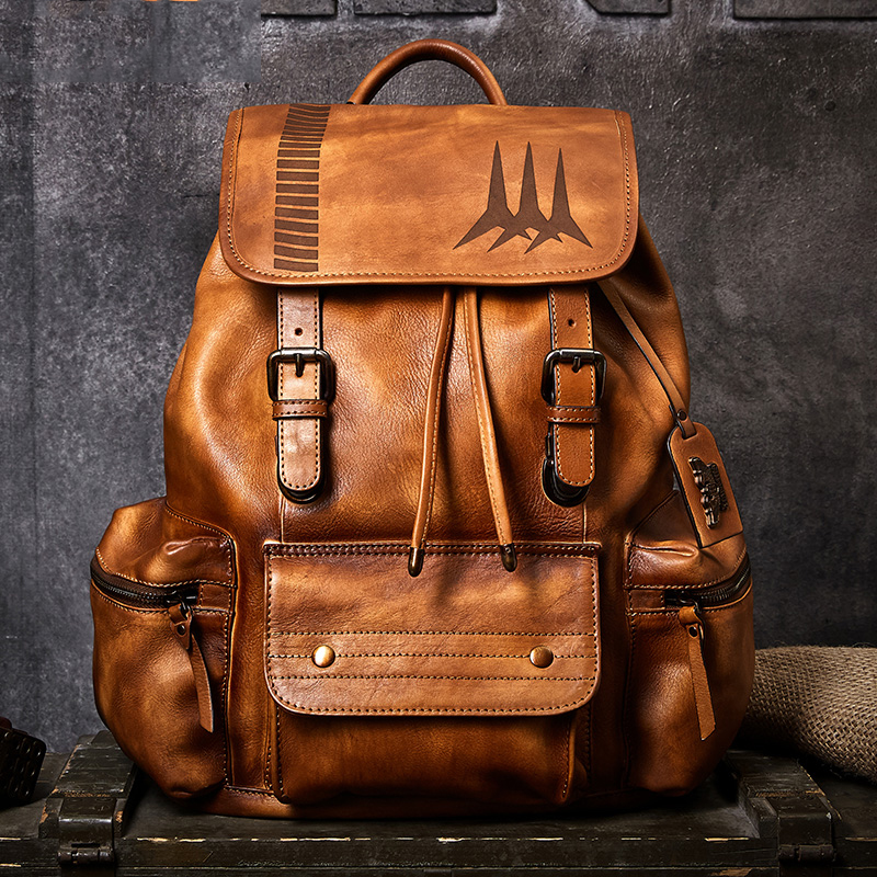 Mens travel bag mountaineering backpack handmade drawstring Daypack Cow Leather large capacity Classic business BackpackMens travel bag mountaineering backpack handmade drawstring Daypack Cow Leather large capacity Classic business Backpack