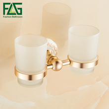 FLG Bathroom Cup Holder Double Glass Cup Holder Tooth Brush Tumbler Holder Wall Mounted Gold Finish Bathroom Accessories  стоимость