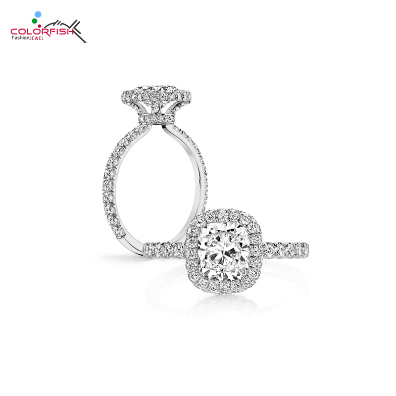 COLORFISH 2 Carat Cushion Halo Engagement Ring Women Luxury Jewelry NSCD SONA 925 Sterling Silver Female Finger Ring Wedding