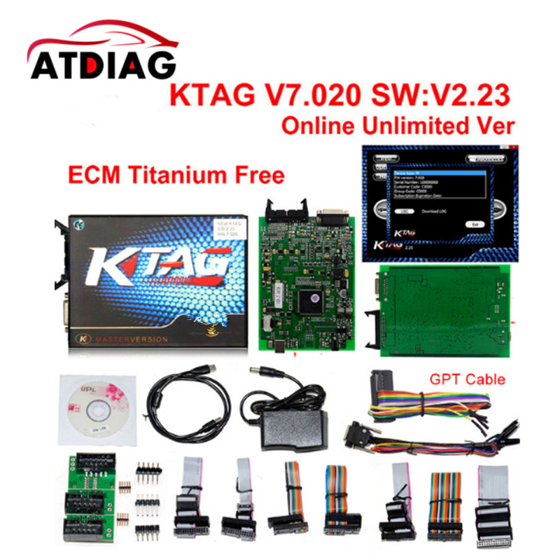 2017 Unlimited Token! KTAG 7.020 KESS 5.017 ECU Programming Tool K-Tag V7.020 SW 2.23 With GPT Function Better Than Ktm100 2017 newest ktag v2 13 firmware v6 070 ecu multi languages programming tool ktag master version no tokens limited free shipping