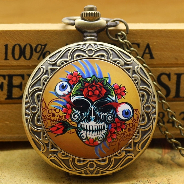 Antique Fashion Funny Colorful Skull Head With Flower Bronze Poket Watch with Ch