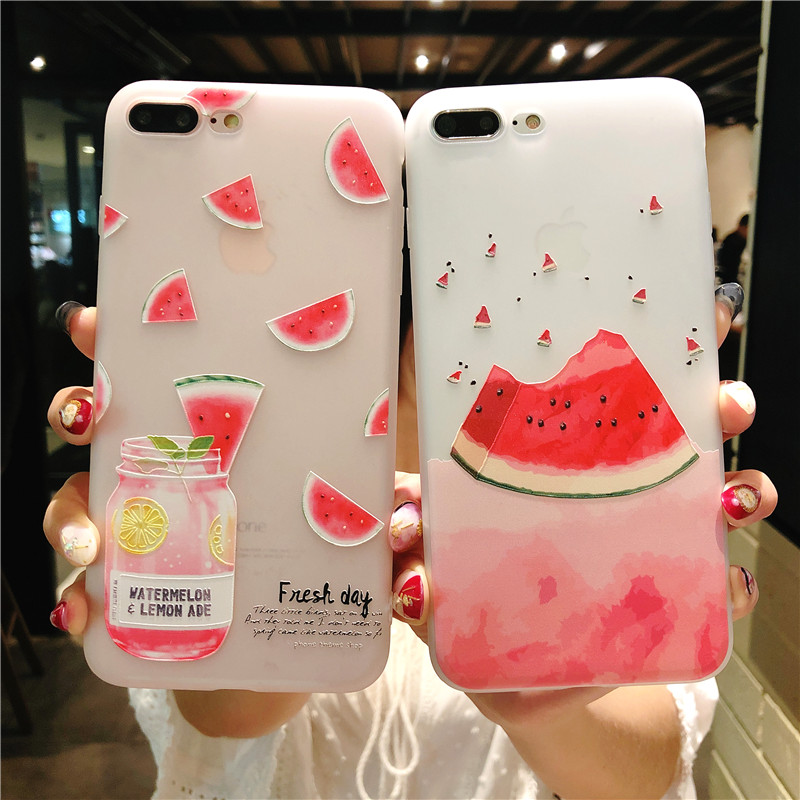 buy online 3ece9 99cfd US $2.99 |Fruit watermelon Patterned Case For iPhone 6 6s 7 8 Plus Cover  Soft Silicone 3D Relief Protect Cover For iPhone 5S SE X 10 Capa-in Fitted  ...