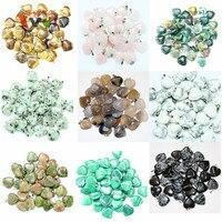 AMGJ Wholesale Small Lots 10pcs Heart Natural Stone Quartz Tiger Eye Pendant Beads Fit Necklace
