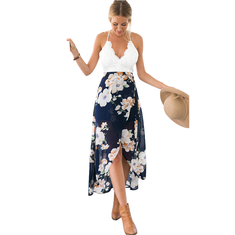 e37a263eb0 Women Summer Dress 2018 Chiffon Long Lace Boho Split Floral Print V-Neck  Backless Bohemian Beach Dress Maxi Dress Female robe