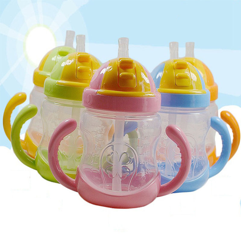 5 Colors 280ml Baby Bottle Kids Cup Silicone Sippy Children Training Cups Cute Baby Drinking Water Straw Handle Feeding Bottle