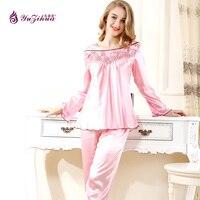 Yuzihua Square Collar Sleevepajamas Sets Silk Satin Nightwear Pink Nightgown Color Pyjamas Women Summer Full Sleepwear