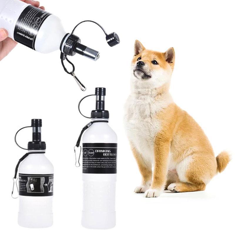 Portable Dog Cat Pet Puppy Drinker Fresh Water Bottle: Dispenser Dog Drinking Bottle Plastic Black + White Pet