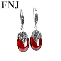 925 Silver Peacock Earring New Fashion Red Stone Cubic Zircon 100% S925 Sterling Silver boucle Drop Earrings for Women Jewelry