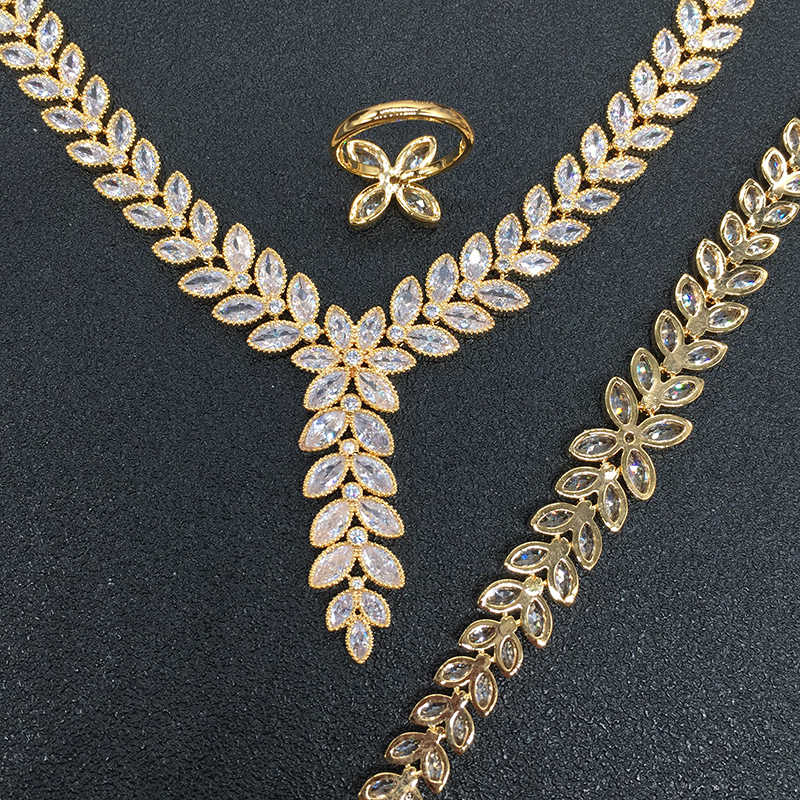 Nankiya New Leaf Pandent Wedding Jewelry Set Sparkling Eye Cubic Zirconia Crystal 4pcs Bridal Women Wedding Jewellery Set NC711