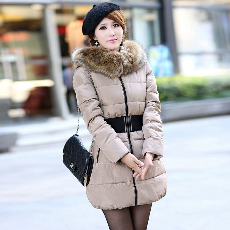 ФОТО Elegant Outwear Womens High Waist Big Fur Collar Winter Coat Cotton Wadded Ladies Down Parkas Elastic Belt Women Hooded Overcoat