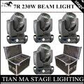 4 pçs/lote 7R 230 W Feixe de luz + Caso do Vôo AC110-240V discolights RGBW 4in1 moving head light stage DJ profissional equipamentos