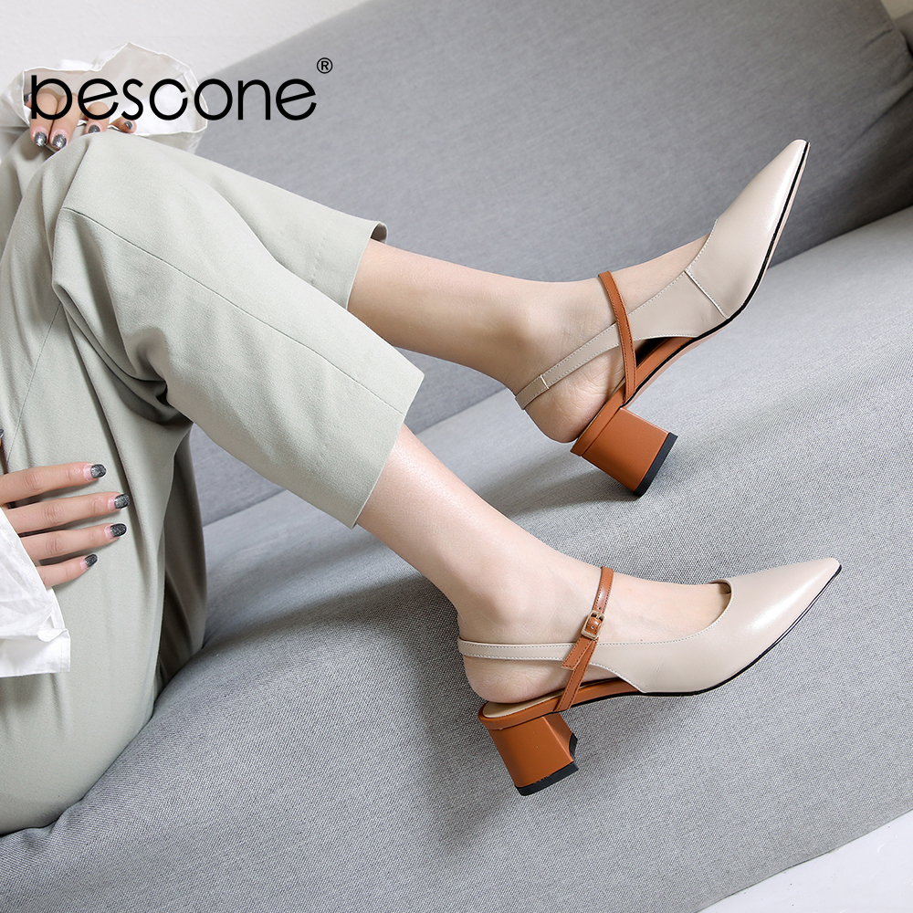 BESCONE Shoes Women Genuine Leather Comfortable Mid Heels Pointed Toe Female Shoes Basic Office Dress Ladies