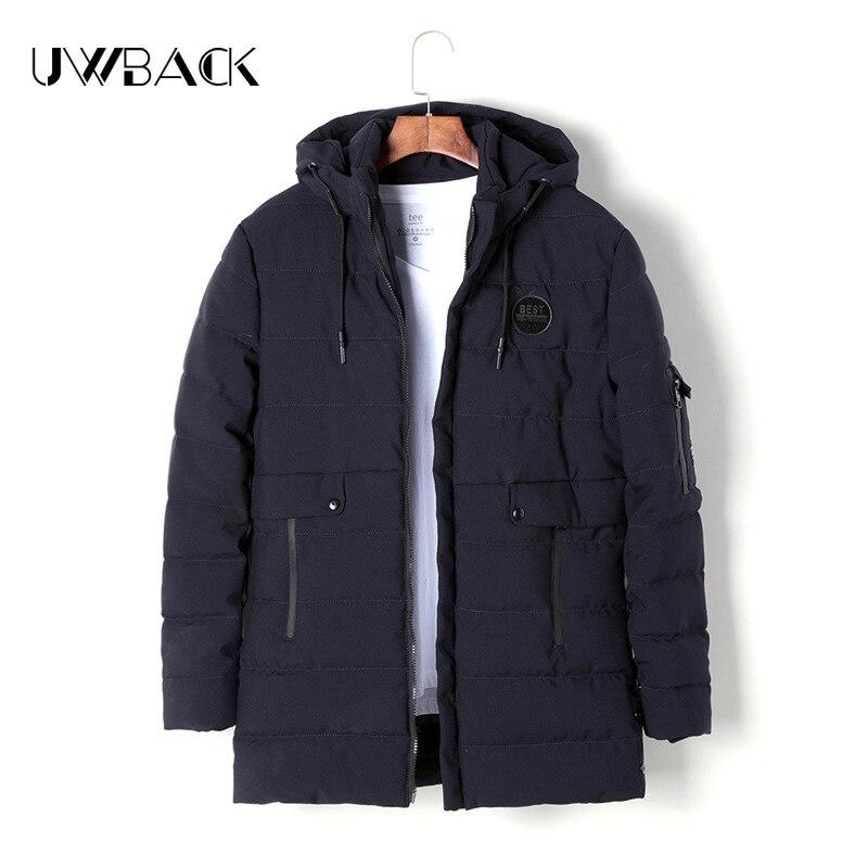 Uwback Men Parkas 2017 New Arrival Winter Black Navy Hooded Men Coats Loose Thick Warm Overcoats Windbreaker Pockets Parka XA252 куртка everlast hooded bubble navy купить