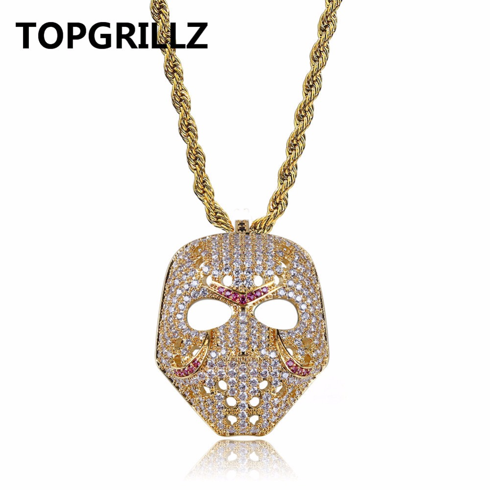 TOPGRILLZ Hip Hop Copper Gold&Rose Gold Color Plated Micro Pave AAA CZ Mask Pendant Necklace Charm For Men Women 60cm Rope Chain