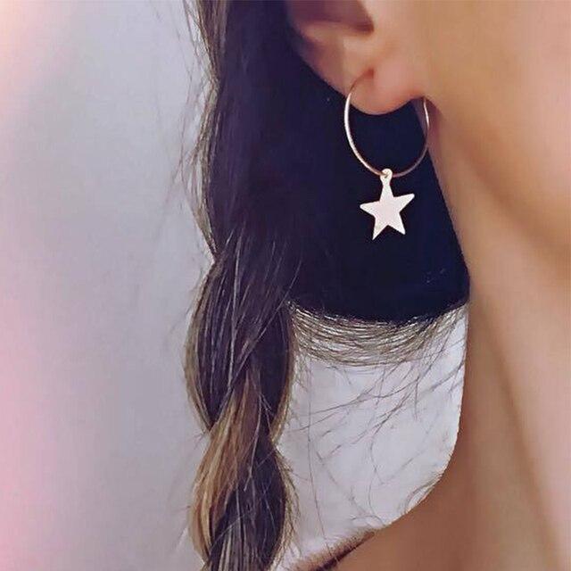 7e7707e190dc 2019 de moda en Europa y América en nueva Simple círculo estrellas  geométrico aro pendientes de