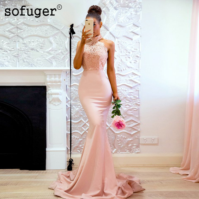 2019 Cheap Bridesmaid Dresses Mermaid Halter Beaded Lace Backless Long Wedding Party Dresses For Women