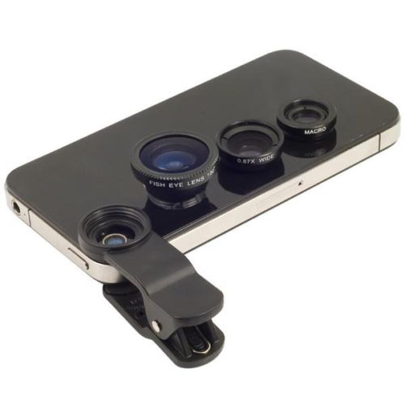 Fish eye universal 3 in 1 mobile phone chip lenses fisheye wide angle macro camera for iphone 6 5s/5 And All Other Smart Phones